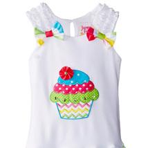 Little Girls 2T-4T Cupcake Applique Bow Shoulder Chevron Stripe Birthday Dress image 2