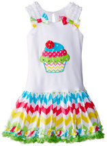Little Girls 2T-4T Cupcake Applique Bow Shoulder Chevron Stripe Birthday Dress