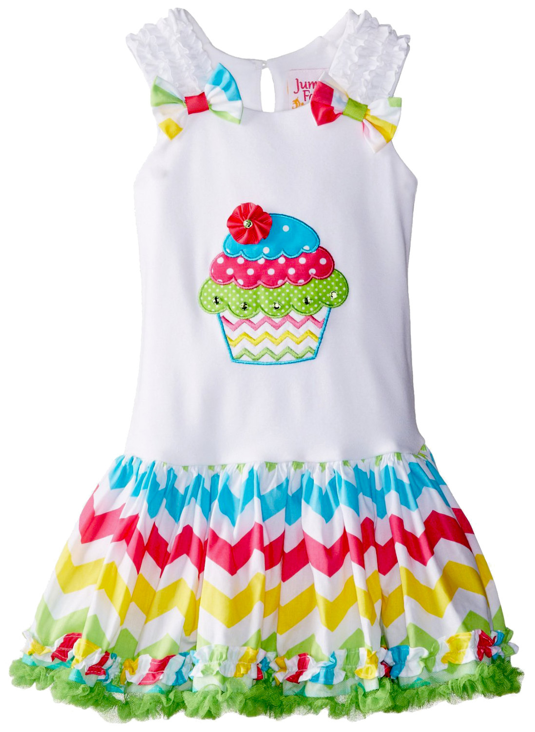 Little Girls 2T-6X Cupcake Applique Bow Shoulder Chevron Stripe Birthday Dress