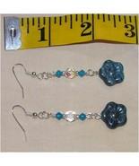 Adorable Blue Czech Glass Flower Swarovski Crystal Dangle Earrings 2 3/4 in long - $12.80