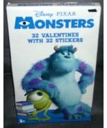 Disney Pixar MONSTERS, INC. 32 Valentines with 32 Stickers NEW! - $4.96