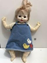 "Vtg Vinyl & Cloth Baby Doll Ideal Toy Corp Crier WORKS! 19"" Blue Sleepy ... - $19.75"