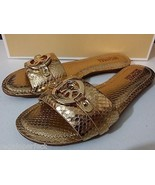 New MICHAEL KORS Molly Slide Metallic Embossed-... - $99.00