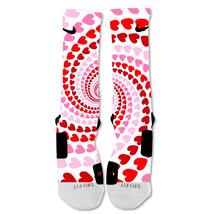 "Nike Elite socks custom Pink Heart Swirl Valentine's Day ""Fast Shipping - $24.99"