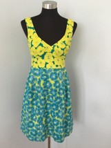 Nanette Lepore Girls Only Dress Lime Turquoise Floral Print Sleeveless - $124.92 CAD