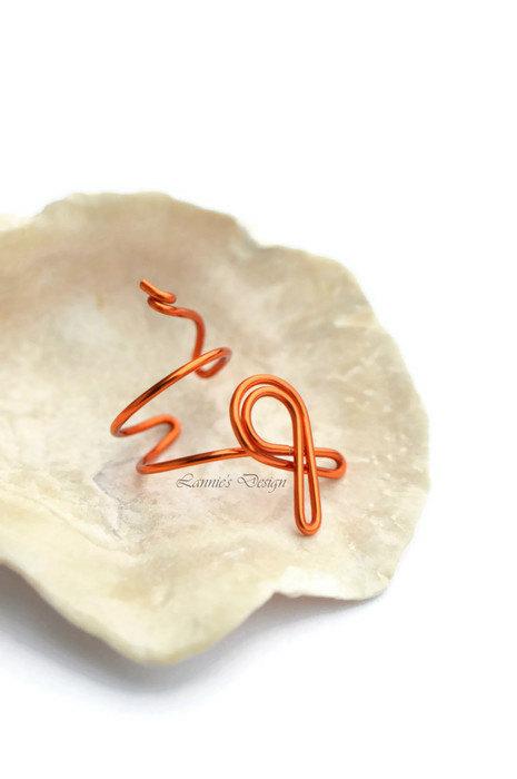 Kidney Cancer, Leukemia, Self-Injury Awareness Ribbon Orange Ear Cuff