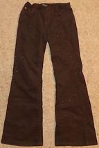 GAP Brown Glitter Corduroy Pants Girls Size 12 Regular Gold Sparkle Shin... - $13.50