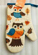 "1 Rare Owl Printed Oven Mitt with Baby Owl and Leaves 11""x 7"" Cotton New - $7.66"
