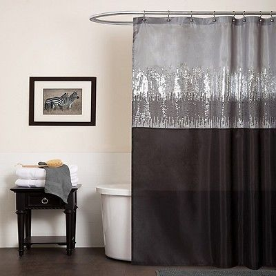 Black gray shower curtain shimmery silverbathroom home for Grey silver bathroom accessories