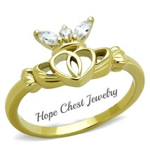 GOLD TONE STAINLESS STEEL LITTLE CROWN CZ CLADDAGH RING SIZE 5-10 - $12.14