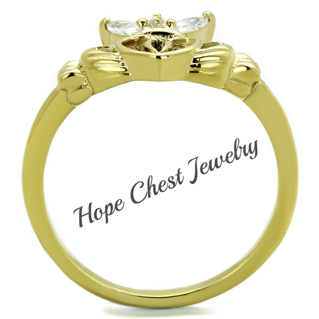 GOLD TONE STAINLESS STEEL LITTLE CROWN CZ CLADDAGH RING SIZE 5-10