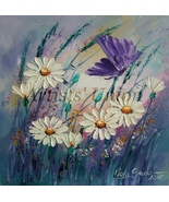 White Daisies Butterfly Original Oil Painting Purple Meadow Palette Knife Art - $75.00