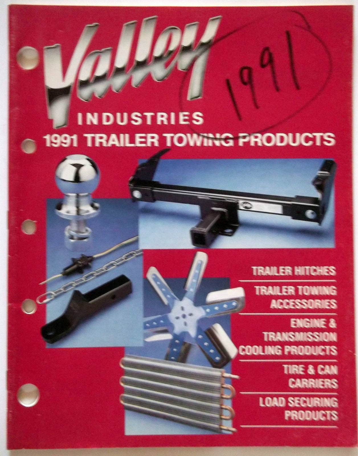 1991 Valley Industries Trailer Towing Products Catalog Hitches Accessories