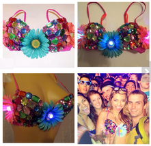 LED Multicolored Rhinestone and Daisy Rave Bra, Rave Outfit, EDC - $49.98