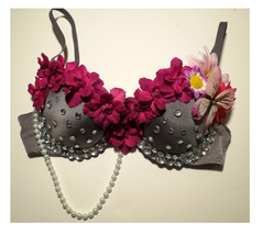 Flower Rhinestone Pearl Butterfly Rave Bra, Rave Outfit, EDC - ₹2,555.15 INR