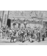 JAPAN Osaka Street of Theaters  - 1882 Wood Engraving - $19.80