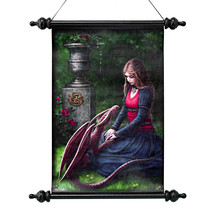 Dragon Friendship Fair Maiden Vinyl-Canvas Wall Hanging Scroll Tapestry Art - $1.075,64 MXN