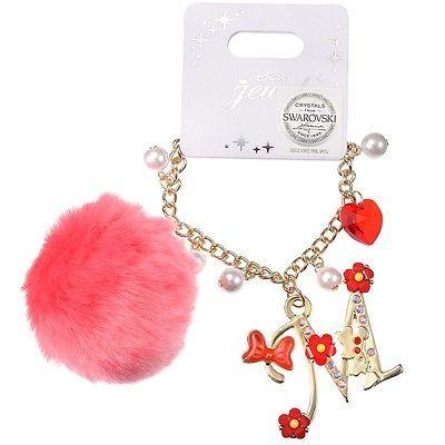 Disney Store Japan Jewel Minnie Swarovski Pom Pom Bag Charm / Bracelet Kawaii