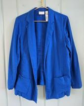 Chicos Size 1 Womens Medium 8 Blazer Jacket Blue 100% Linen Handkerchief... - $29.02