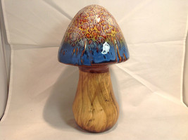 Enesco Tall Ceramic Mushroom Figurine Blue Cap - $34.64