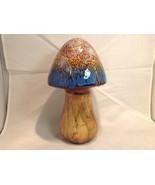 Enesco Tall Ceramic Mushroom Figurine Blue Cap - $34.64