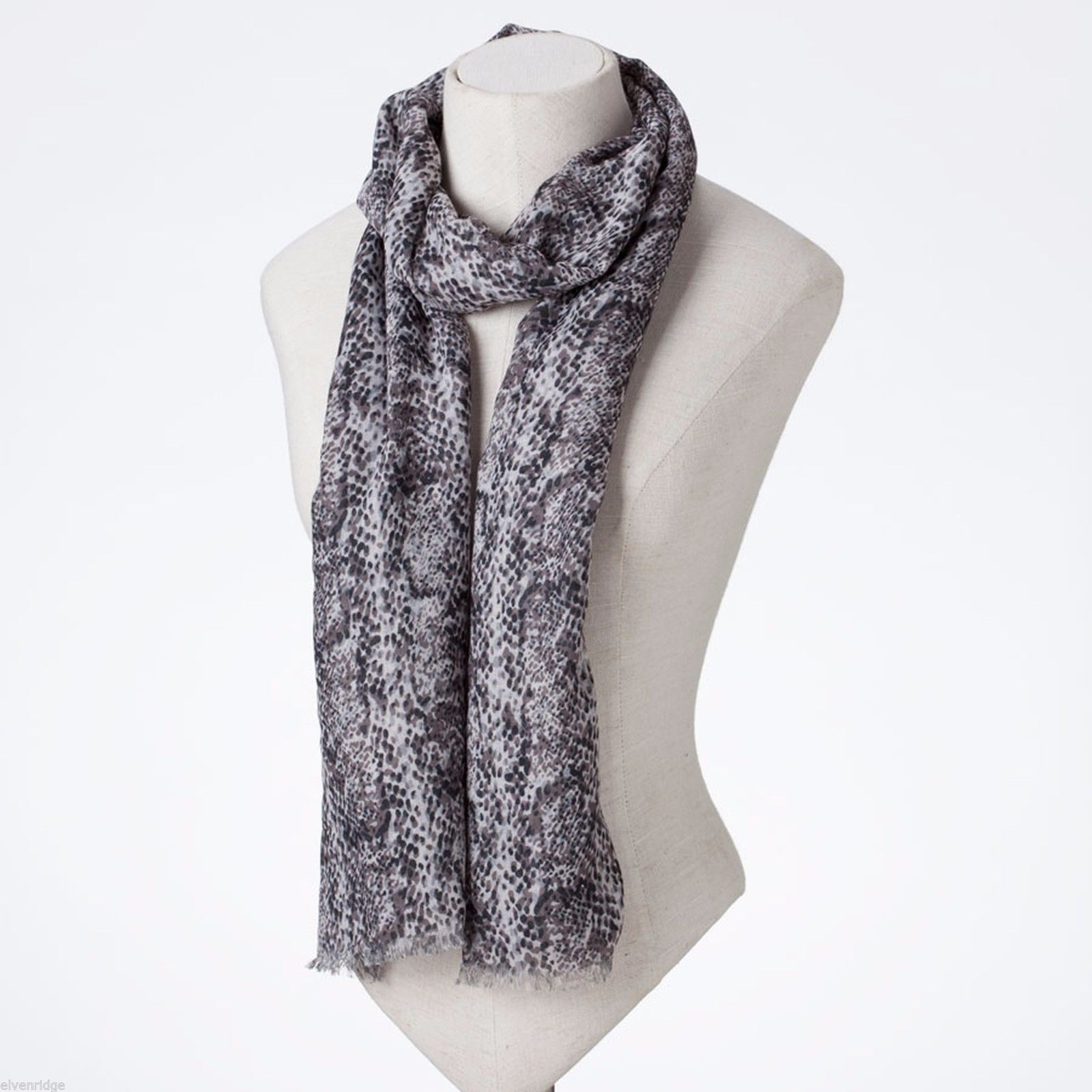 Gray and Beige Snake Skin pattern scarf NEW