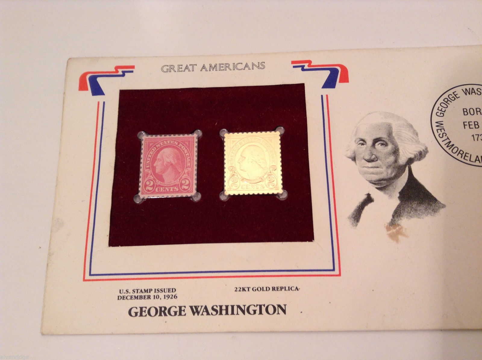 George Washington Postal Commemorative 2 Cents 22KT Gold Replica Stamp Set