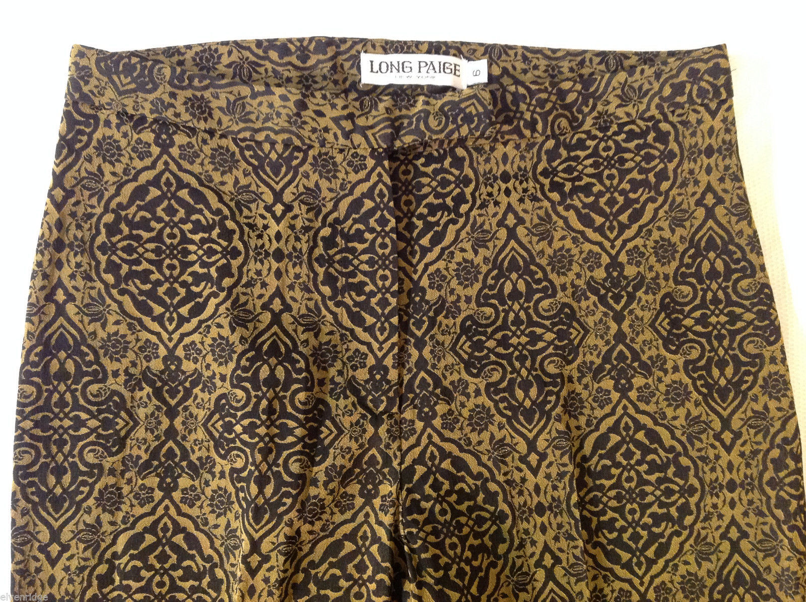 Long Paige New York Womens Size 6 Gold Black Tapered Dress Pants FLoral