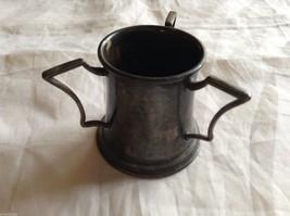 Quadruple Plated Stein Cup w/ 3 Handles antique miniature