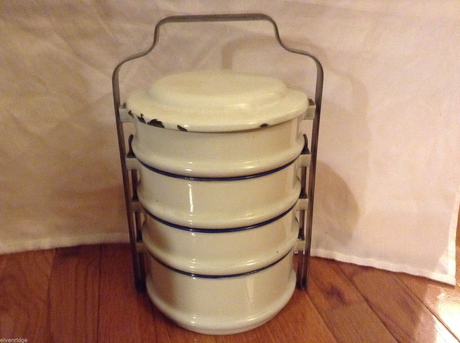 Swedish Vintage Enamel Lunch Pail w/ 4 Compartments and Lid