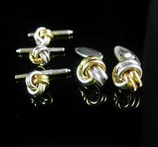 14kt gold LOVE knot Cufflinks Wedding sterling silver eternity button st... - $225.00