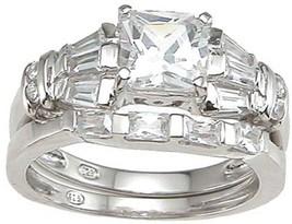 3.59 Princess Cut Engagement Wedding Ring Set Womens Diamond Simulated Size 8 - $43.00