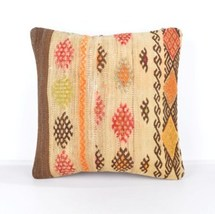 natural color large turkish kilim pillow cover 16x16 inch organic kelim ... - $14.90