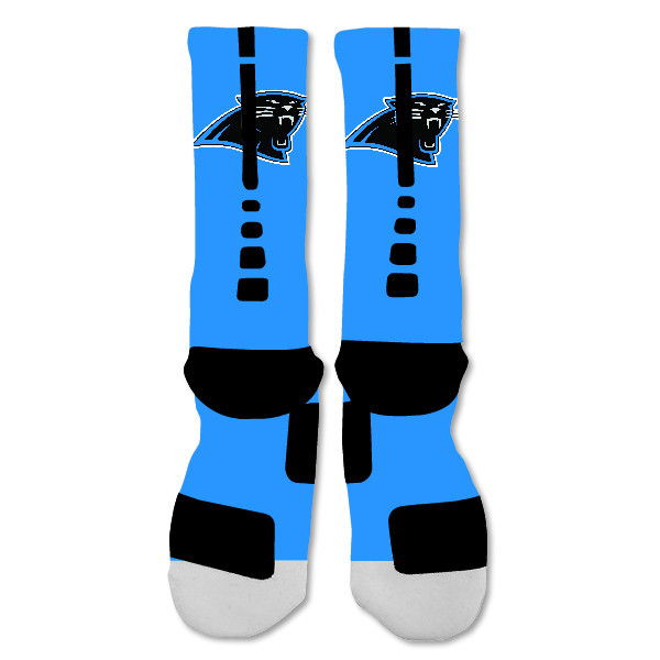 "Nike Elite socks custom Carolina Panthers Light Blue Double  ""Fast Shipping"""