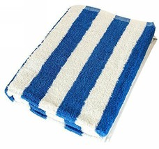 "Large Beach-Towel Pool-Towel In Cabana Stripe- Blue, 100% Cotton  (30"" X... - $16.41"