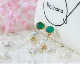 Flower Crystal Stud Earrings/White Camellia Crystals Dangle Earrings - $14.80