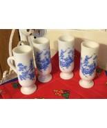 4- Avon Blue & White Toile Design Milk Glass Footed Demitasse Cup - $5.89