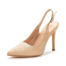 DREAM PAIRS Women's Slim-Pointed Nude Suede High Heel Pump Shoes - 9 M US - $29.16