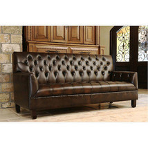 """84"""" Sofa Art Deco Dark Brown Bonded Leather Tufted Chesterfield Art Deco Style. - $1,381.05"""