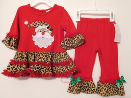 Dress & Leggings Toddler 2pc Christmas Rare Editions Leopard Santa Tunic 12 M Nwt - $27.99