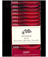 2000 - 2009 SILVER PROOF SETS - DCAM COINS -  ALL  BOXES & COA's - FREE SHIPPING - $595.00