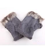Genuine Fur Trimmed Fingerless Gloves Gray Free Shipping - $20.00