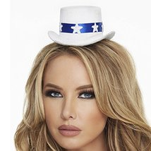 Mystery House Women's Star and Banner Mini Hat, White Blue, One Size [Apparel] - $19.99