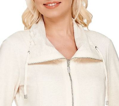 $56 Denim & Co. Active French Terry Oatmeal Heather Zipper Collar Jacket XL NEW
