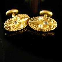 1902 Victorian Diamond Cufflinks Fleur de Lis Yellow Rose Gold Filled An... - $245.00