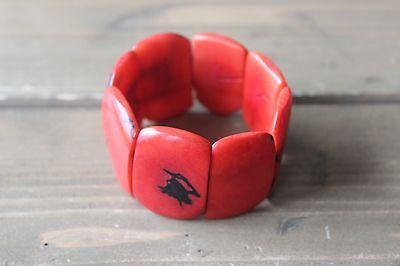 Faux Red Coral Stretch Bracelet