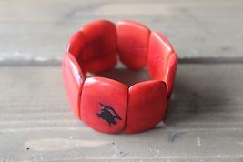 Faux Red Coral Stretch Bracelet - $9.90