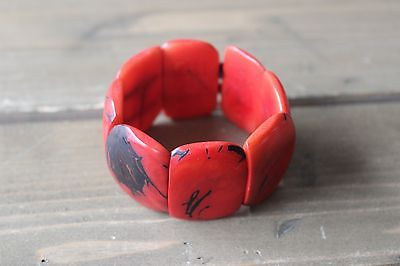 Faux Red Coral Stretch Bracelet image 2