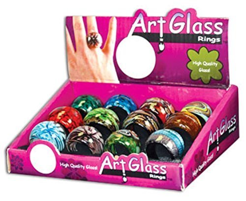 Art Glass Ring - One Ring w/Random Color and Design [Toy]