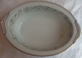 "Noritake Creston Gold and Green Oval Serving Bowl 10 1/2"" length 6223 EUC - $18.50"